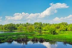 Modific il terrenoare con le acque di inondazione del fiume di Narew, Polonia Immagine Stock
