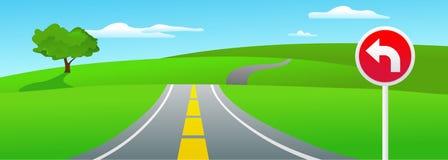 Modific il terrenoare con un albero e un segnale stradale illustrazione di stock