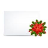 Modifica in bianco e Pointsettia del regalo Fotografia Stock Libera da Diritti