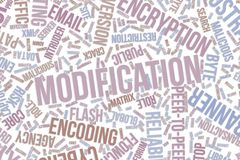 Modification, conceptual word cloud for business, information technology or IT. Modification, IT, information technology conceptual word cloud for for design Royalty Free Stock Images