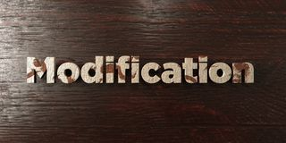 Modification - grungy wooden headline on Maple  - 3D rendered royalty free stock image. This image can be used for an online website banner ad or a print Stock Photo