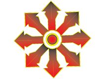 Multiple red cross with orange edge. Modification multiple rds cross with orange edge and circle center Royalty Free Stock Images