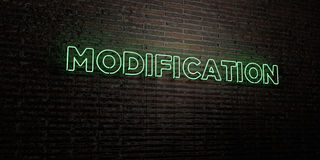 MODIFICATION -Realistic Neon Sign on Brick Wall background - 3D rendered royalty free stock image. Can be used for online banner ads and direct mailers Royalty Free Stock Photos