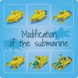 Modification of the submarines. Set of six icons Stock Images