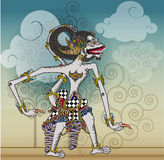 Wayang Vector, Modifications Puppets character in vector style. Modification of the puppet characters Hanuman or white monkey in the story of the Mahabharata and Stock Photos