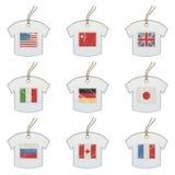 Modifiche della maglietta con le bandierine Immagini Stock