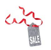 Modifiche di vendita Etichetta del regalo, isolata su fondo bianco Fotografia Stock