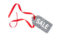 Modifiche di vendita Etichetta del regalo, isolata su fondo bianco Fotografie Stock