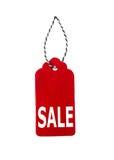 Modifiche di vendita Etichette del regalo, isolate su fondo bianco Fotografia Stock