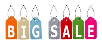 Modifiche di vendita Etichette del regalo, isolate su fondo bianco Immagine Stock