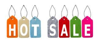 Modifiche di vendita Insieme delle etichette del regalo di colore isolate su fondo bianco Fotografia Stock