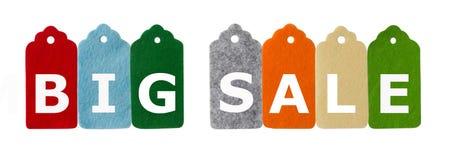 Modifiche di vendita Tempo di acquisto Etichette del regalo, isolate su fondo bianco Fotografie Stock Libere da Diritti