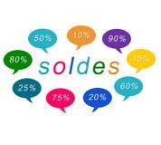Modifiche variopinte di Soldes Fotografia Stock