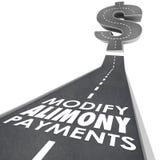 Modifichi l'obbligo finanziario Suppor nuziale della strada di pagamenti di assegno alimentare Immagini Stock