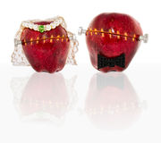 Modified Apples in Wedding Garb Stock Images