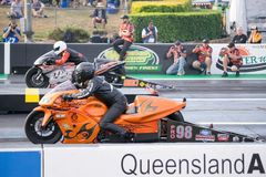 Modified Bike Category 2018 Winternationals Ipswich Australia. A modified bike at the starting line during the celebration of the 2018 Gulf western Oils royalty free stock photography