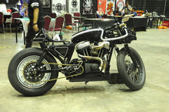 Modified cafe racer custom bike. SERDANG, MALAYSIA -MAY 29, 2016: Cafe racer custom bike modified from classic motorcycle Stock Photo