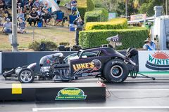 Modified Category 2018 Winternationals Ipswich Australia. A modified car at the starting line during the celebration of the 2018 Gulf western Oils stock image