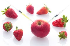 Modified food, fruits,apple and strawberries with punched needles and syringes. / isolatet on a white background Stock Images