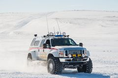 Modified 4x4 Ford F350 on big tires from Iceland search and rescue team. Smjorfjoll Iceland - March 30. 2019: Modified 4x4 Ford F350 on big tires from Iceland stock photo