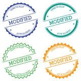 Modified genetically badge isolated on white. Modified genetically badge isolated on white background. Flat style round label with text. Circular emblem vector Royalty Free Stock Photography