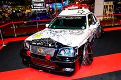 Modified Police Car and screen cartoon japan. Stock Photo