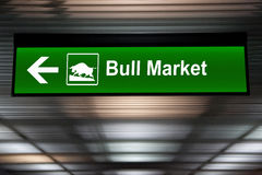 A modified sign indicating a bull market ahead. Green color Stock Images