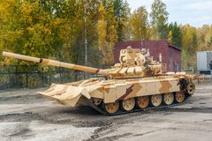 Modified T-72 with additional protection kit Royalty Free Stock Photography