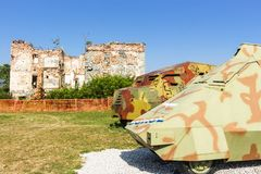 Tanks display at The Museum of Army Collections from the Croatian Homeland War royalty free stock photos