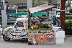 Modified Tuk Tuk truck for food business stock photo