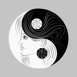 Modified Yin and Yang symbol. Woman portrait. Logo Stock Image