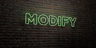 MODIFY -Realistic Neon Sign on Brick Wall background - 3D rendered royalty free stock image. Can be used for online banner ads and direct mailers Stock Photos