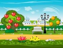modig bakgrund Parkera gatan, trädet, lyktan, bänk Stock Illustrationer