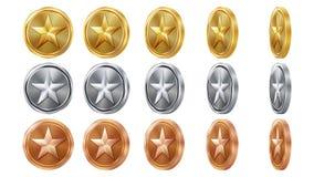 Modig 3D guld, silver, bronsmynt ställde in vektorn med stjärnan Flip Different Angles Prestationmyntsymboler, tecken, framgång Royaltyfria Bilder