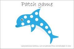 Modig delfin för utbildningslapp för att barn ska framkalla motorexpertis, bruksplasticinelappar, knappar, kulört papper eller so vektor illustrationer