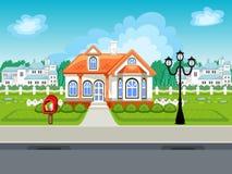 Modig gatavektorbakgrund med huset Stock Illustrationer