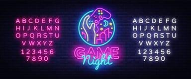 Modig mall för design för logo för nattneontecken Modig nattlogo i neonstil, gamepad i handen, videospelbegrepp som är modernt vektor illustrationer