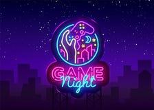 Modig mall för design för logo för vektor för nattneontecken Modig nattlogo i neonstil, gamepadhand, videospelbegrepp vektor illustrationer