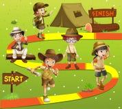 Modig mall med ungar i safaridräkt stock illustrationer