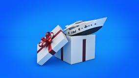 Modig maskin för tappninggalleri Begrepp för gåvaask Yacht lyxigt fartyg Begrepp för gåvaask stock illustrationer