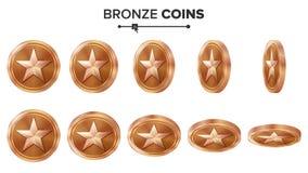 Modig myntvektor för brons 3D med stjärnan Flip Different Angles Prestationmyntsymboler, tecken, framgång, vinnare, bonus, kassa vektor illustrationer