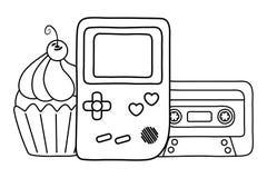 Modig pojke och kassett med den svartvita muffin royaltyfri illustrationer