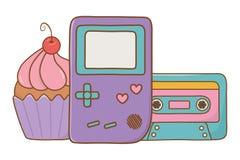Modig pojke och kassett med muffin royaltyfri illustrationer