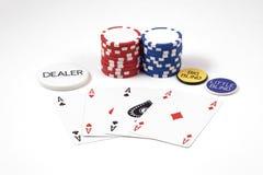 modig poker för överdängarechiper Fotografering för Bildbyråer