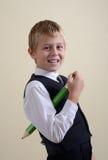 Modig schoolboy med blyertspennan Royaltyfri Fotografi