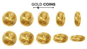 Modig vektor för guld- mynt 3D med stjärnan Flip Different Angles Prestationmyntsymboler, tecken, framgång, vinnare, bonus, kassa Arkivbilder