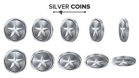 Modig vektor för silvermynt 3D med stjärnan Flip Different Angles Prestationmyntsymboler, tecken, framgång, vinnare, bonus, kassa Royaltyfri Fotografi