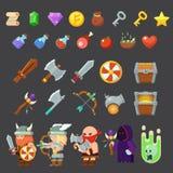 Modiga symboler medeltida viking Inventarium hjältar, fiender, vapen Arkivfoton