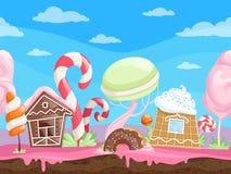 Modigt sömlöst sött landskap För bakgrundsefterrätter för fantasi läcker klubba för kex för choklad för karamell för socker för g royaltyfri illustrationer