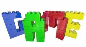 Modigt Toy Blocks Play Together Fun ord Fotografering för Bildbyråer